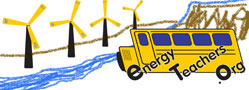 Image of schoolbus visiting waterfall and wind farm