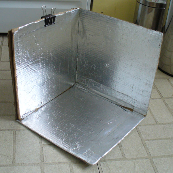 image of solar cooker fully assembled.